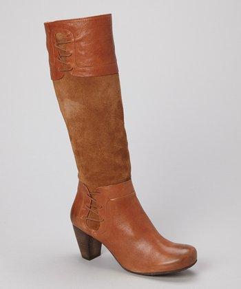 Brako Tan Leather Panel Boot