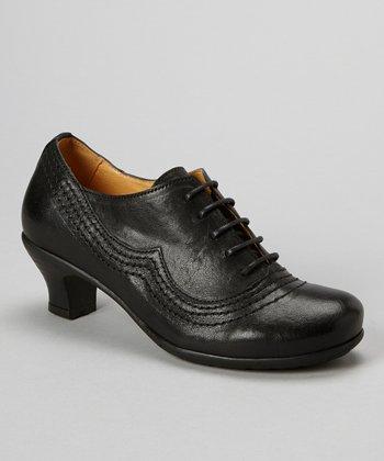 Brako Black Leather Kitten Heel Oxford