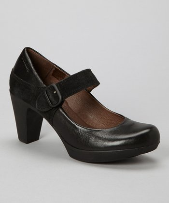 Wonders Black Leather Mary Jane