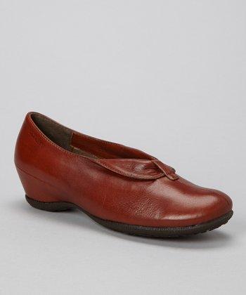Wonders Brown Flap Leather Wedge