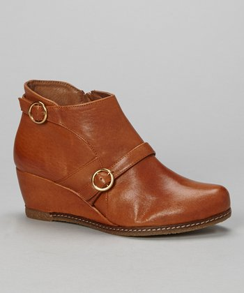 Tan Leather Aurora Wedge Ankle Boot