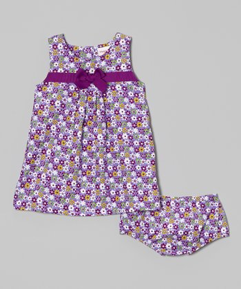 Purple Floral Pleat Front Dress & Bloomers - Infant