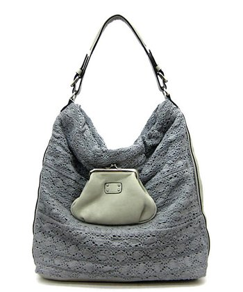 Gray Crochet Hobo