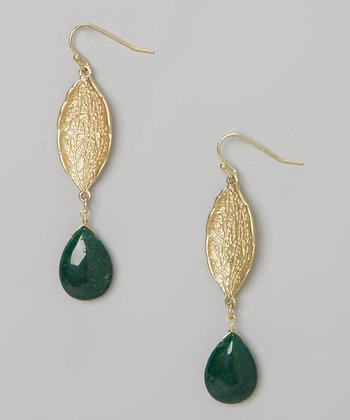 Gold & Green Reina Drop Earrings