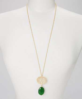 Gold & Green Tree Kim Pendant Necklace