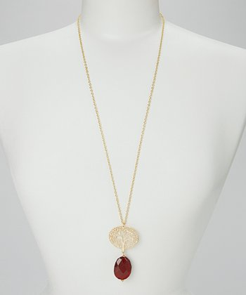 Gold & Red Tree Kim Pendant Necklace