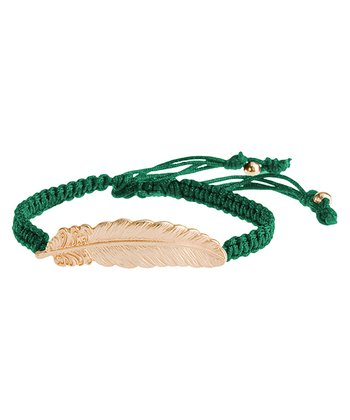 Gold & Green Leaf Willow Bracelet