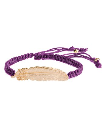 Gold & Purple Leaf Willow Bracelet