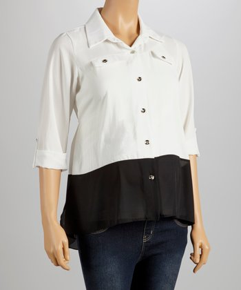White Maternity Button-Up
