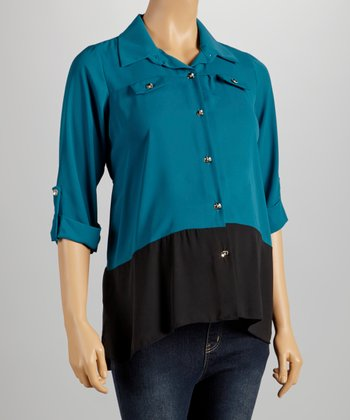 QT Teal Maternity Button-Up