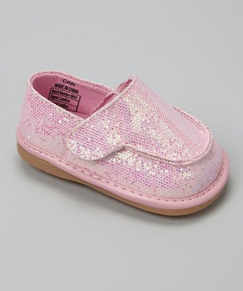 Light Pink Sparkle Canvas Squeaker Shoe