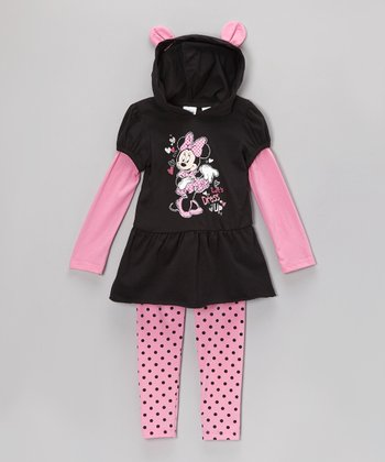 Black & Pink Layered Hooded Tunic & Leggings - Toddler & Girls