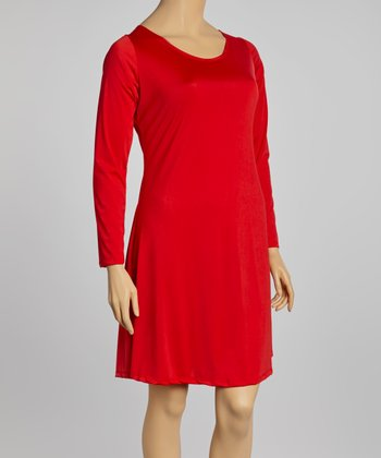 Red Long-Sleeve Scoop Neck Dress - Plus