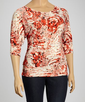 Red & Tan Abstract Dolman Top - Plus