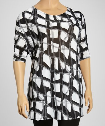 Black & White Abstract Block Scoop Neck Tunic - Plus
