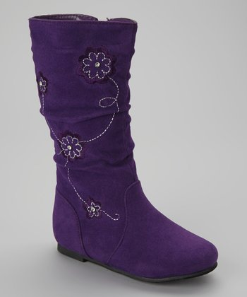 Purple Floral Data Boots