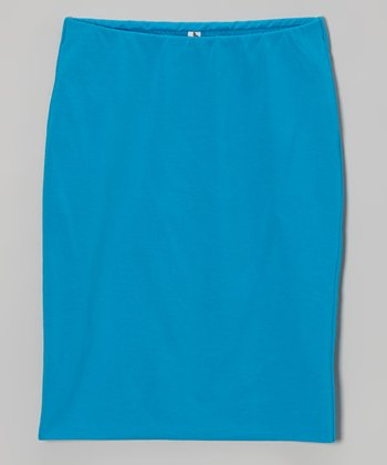 Sky Blue Pencil Skirt - Girls