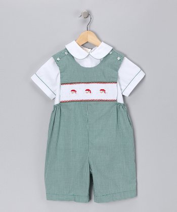 Green Gingham Santa Faces Shortalls & Tee - Toddler
