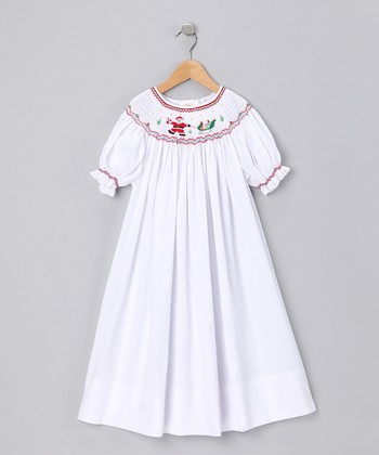 White Santa's Sleigh Bishop Dress - Girls