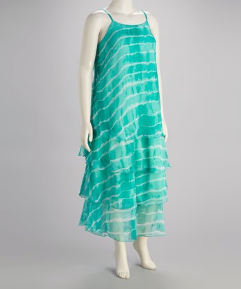 Aqua Tiered Ruffle Maxi Dress - Plus