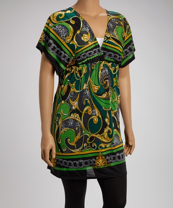Lime & Black Status Cape-Sleeve Tunic - Plus