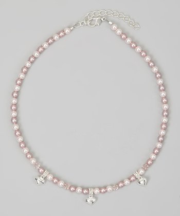 Pink & Silver Pearl Puffed Heart Necklace