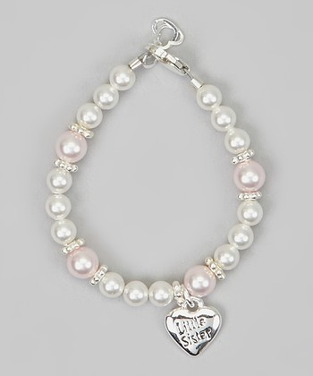 White Pearl 'Little Sister' Heart Charm Bracelet
