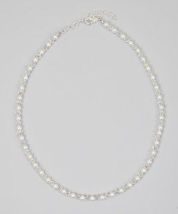 White & Clear Crystal Necklace