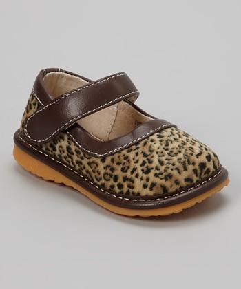 Izzy Bug Creations Brown Leopard Animal Instinct Squeaker Shoe