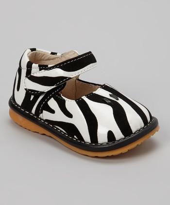 Izzy Bug Creations Black & White Zebra Squeaker Shoe