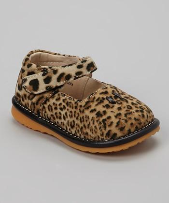 Izzy Bug Creations Beige Leopard Squeaker Shoe