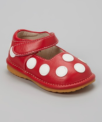 Izzy Bug Creations Red & White Polka Dot Squeaker Shoe