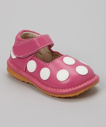 Izzy Bug Creations Hot Pink Polka Dot Squeaker Shoe