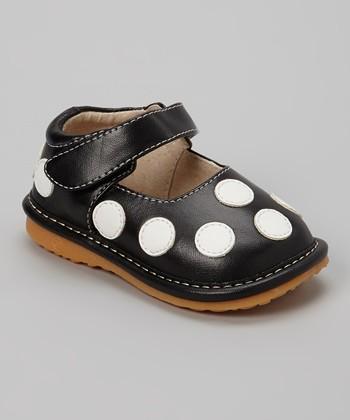 Izzy Bug Creations Black Polka Dot Squeaker Shoe