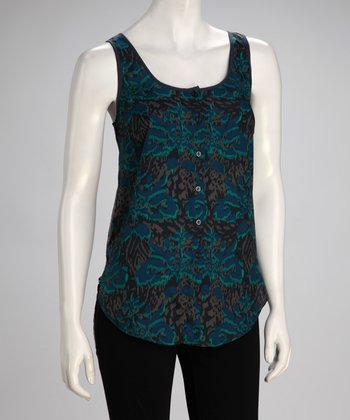 Teal Lace Back Sleeveless Tunic