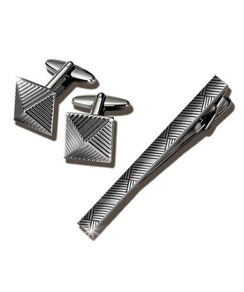 Gun Metal Cufflink & Tie Clip Set