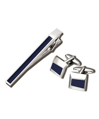 Silver & Blue Cufflink & Tie Clip Set