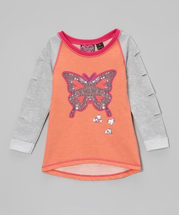Orange & Gray Sequin Butterfly Raglan Sweatshirt