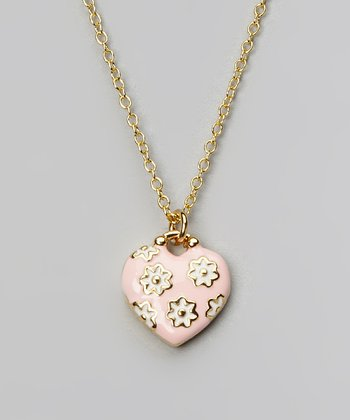 Pink & Gold Daisy Heart Pendant Necklace