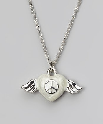 White & Silver Winged Heart Pendant Necklace