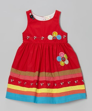 Red Flower Appliqué Dress - Infant, Toddler & Girls