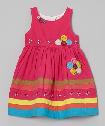 Fuchsia Flower Appliqué Dress - Infant, Toddler & Girls