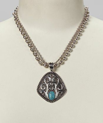 Turquoise & Antique Silver Filigree Pendant Necklace
