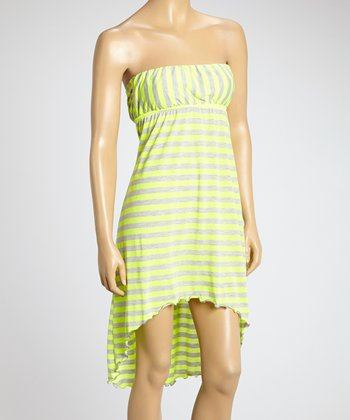 Yellow Stripe Hi-Low Strapless Dress