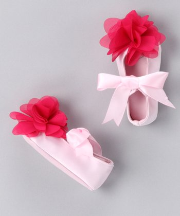 Pink Chiffon Flower Satin Booties