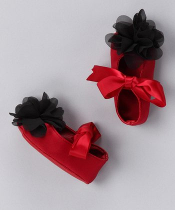 Red Chiffon Flower Satin Booties