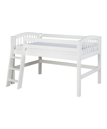 White Arch Spindle Low Loft Bed