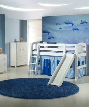 White Arch Spindle Low Loft Bed & Slide