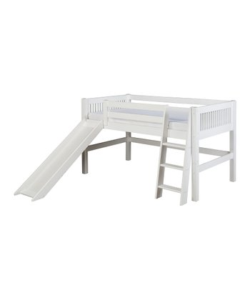 White Mission Low Loft Bed & Slide