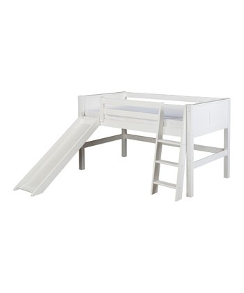 White Panel Low Loft Bed & Slide